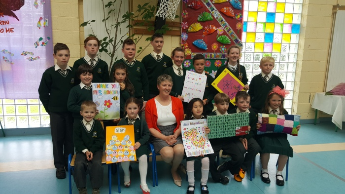 Children presenting thank you cards to Mrs Moynihan